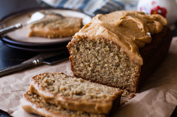 Whole Wheat Banana Bread with Peanut Maple Frosting