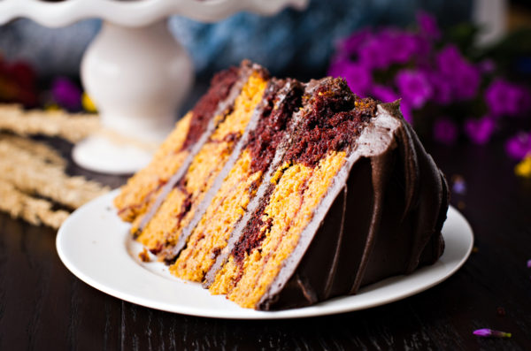 Chocolate Pumpkin Marble Cake