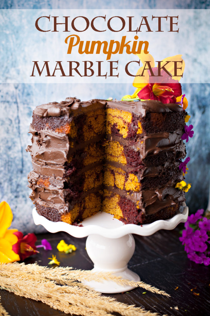 It's a marriage made in heaven! Chocolate Pumpkin Marble Cake. Rich chocolate cake is swirled with moist pumpkin cake and topped with cinnamon chocolate frosting for this showstopping dessert!
