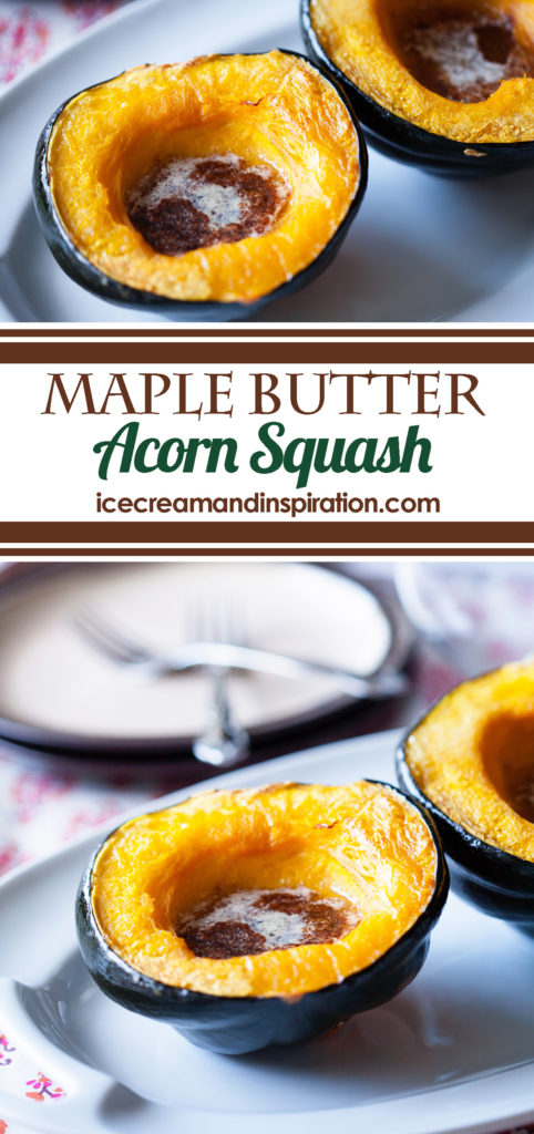 This Maple Butter Acorn Squash is baked with real maple syrup and butter, along with cinnamon, nutmeg, and cloves. It's the perfect side dish for any fall meal!