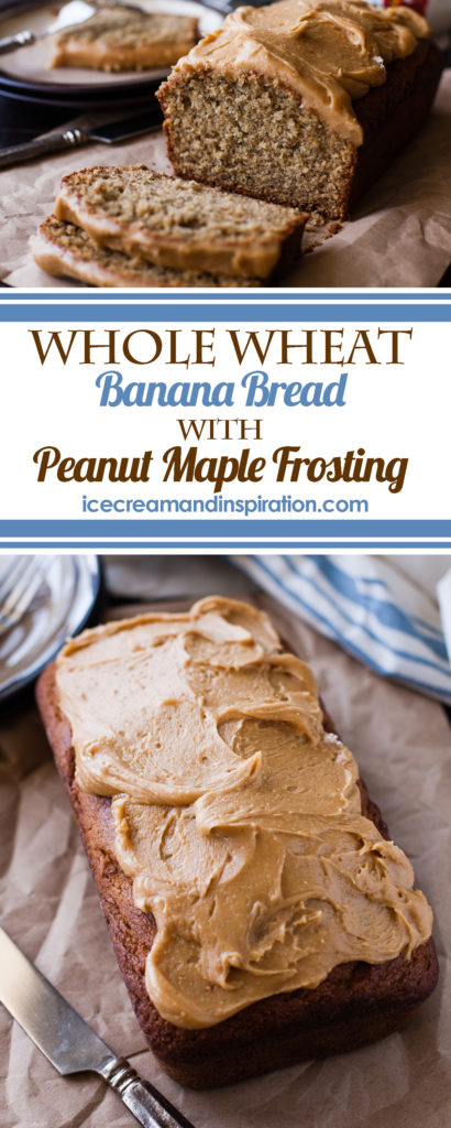 Make this wholesome Whole Wheat Banana Bread with Peanut Maple Frosting. Made with coconut oil and less sugar than regular banana bread.