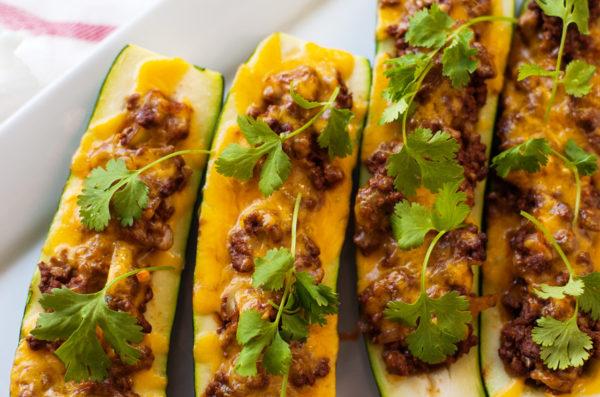 Red Enchilada Zucchini Boats