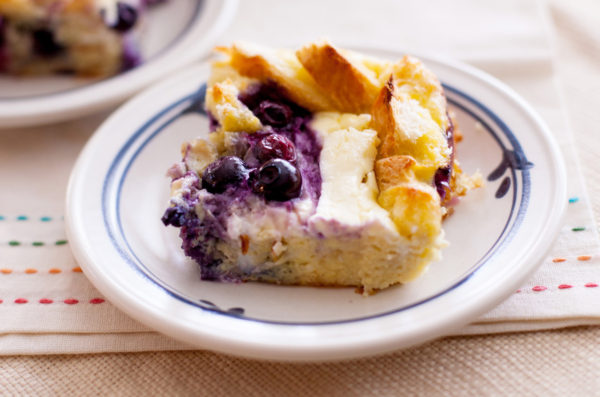 Overnight Blueberry Breakfast Bake with Maple Cream Syrup