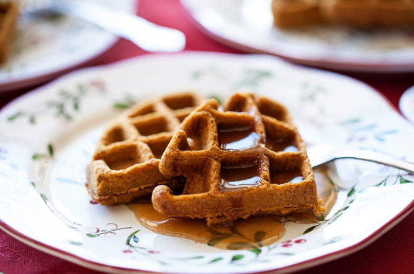 Gingerbread Waffles with Cinnamon Cream Syrup