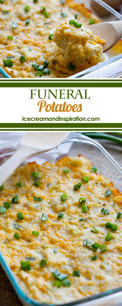 "Why are they called ""Funeral Potatoes?"" I'm so glad you asked! Read on to learn more and to get the recipe for these creamy, cheesy, to-die-for potatoes!"