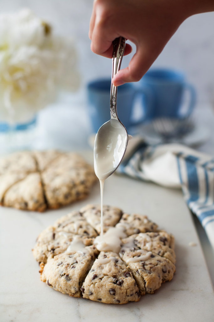 Chocolate Chip Toffee Scones. Tender, sweet, and delicious for your breakfast or brunch menu!