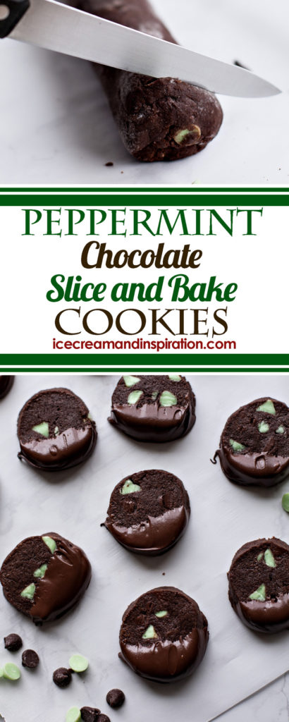These elegant Peppermint Chocolate Slice and Bake Cookies are made with plenty of peppermint flavor surrounded by rich chocolate. Easily store the dough and have wonderful peppermint chocolate cookies any time!
