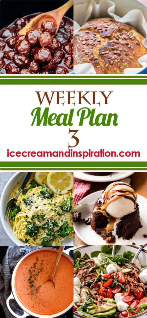 This weekly meal plan has recipes for Grilled Caprese Chicken Salad, Chalupas, One-pan Mongolian Chicken, Chicken Cordon Bleu Casserole, and more! Plus, recipes for bread and dessert. Menu plan.