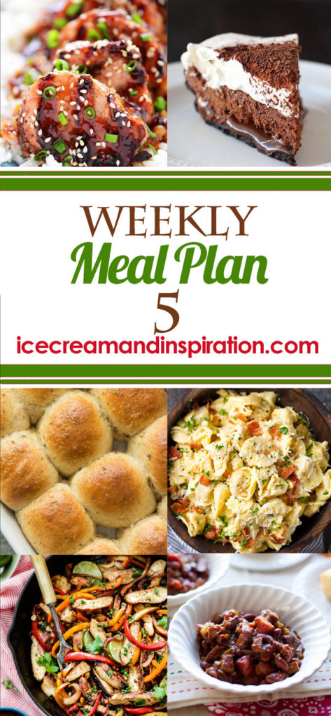 This week's meal plan has recipes for Skillet Chicken Fajitas, Honey Sesame Pork Tenderloin, Tortellini Pasta Carbonara, Slow Cooker Indian Butter Chicken and more! Plus, recipes for bread and dessert.