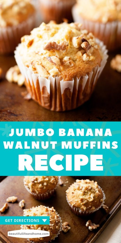 These giant Banana Walnut Muffins are bursting with flavor and are perfect for breakfast or brunch. No worries if you don't have jumbo muffin tins! You can make regular-sized muffins as well.