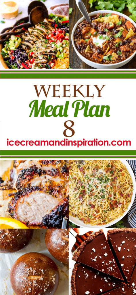 This week's meal plan has recipes for Cilantro Lime Chicken Taco Salad, Easy Cashew Chicken, Cuban Mojo Marinated Pork, Zesty White Chicken Enchiladas, and more! Plus, recipes for bread and dessert.