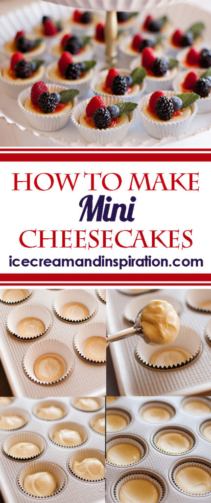 Learn how to make gorgeous, easy mini cheesecakes. Perfect for weddings, baby showers, and any other occasion!