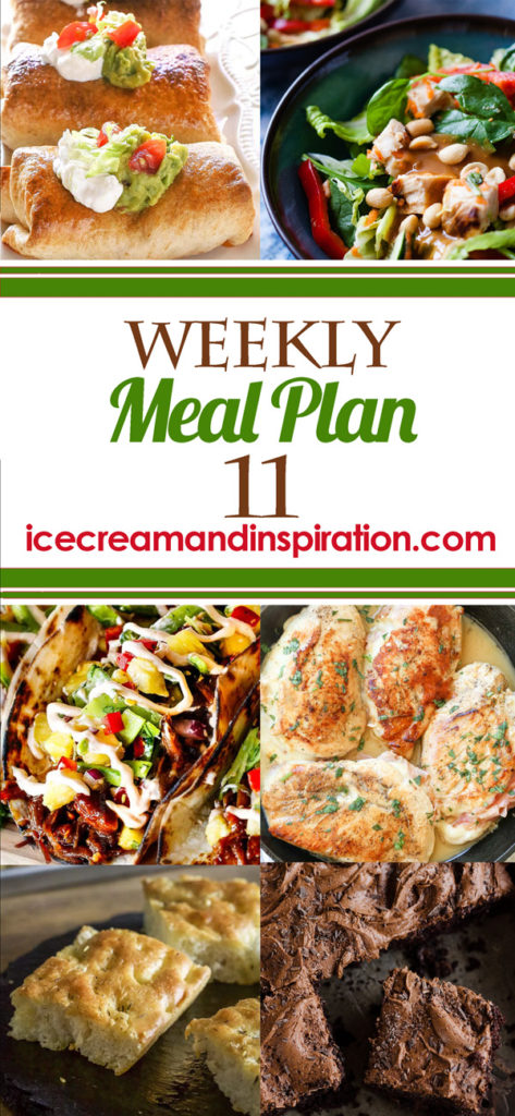 This week's meal plan has recipes for Thai Chicken Salad with Peanut Dressing, Baked Chicken Chimichangas, Creamy Chicken, Bacon, and Asparagus Tortellini, Asian Pulled Pork Tacos, and more! Plus, recipes for bread and dessert.