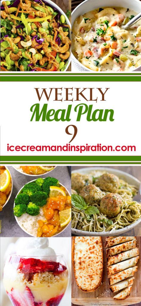 This week's meal plan has recipes for Thai Cashew Chopped Salad, Easy Crispy Chinese Lemon Chicken, Pesto Chicken Meatballs, Brown Sugar Balsamic Glazed Pork, and more! Plus, recipes for bread and dessert.