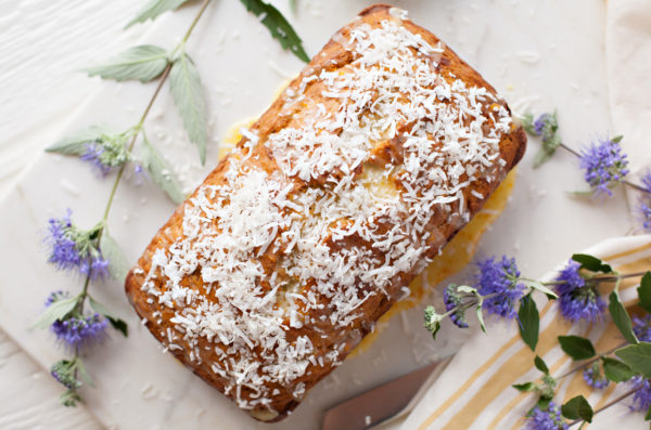 Banana Coconut Bread with Orange Glaze