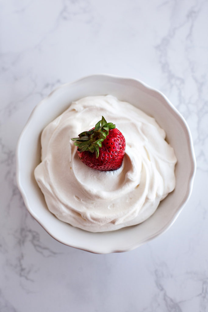 Make perfect Sugar-free Whipped Cream with only three ingredients! Tastes and looks just like the real thing!