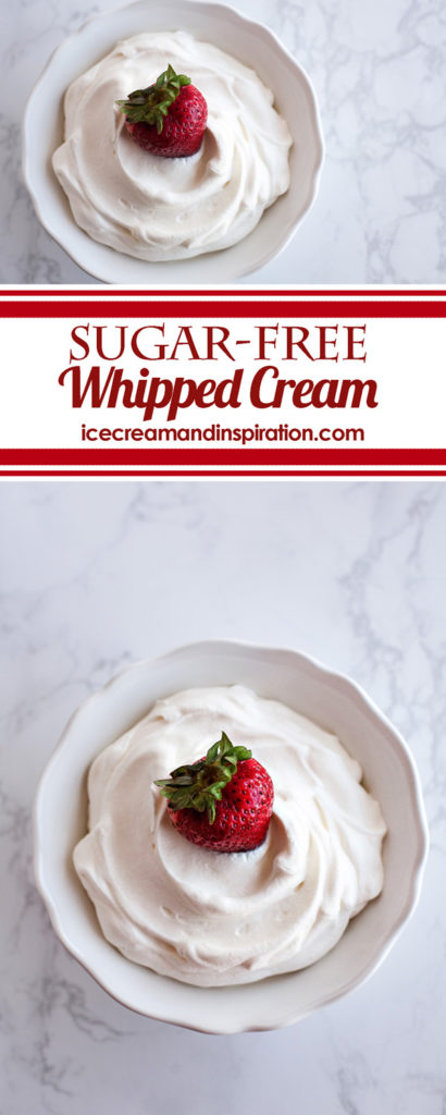 Make perfect Sugar-free Whipped Cream with only three ingredients! Tastes and looks just like the real thing, and you can control the sweetness!
