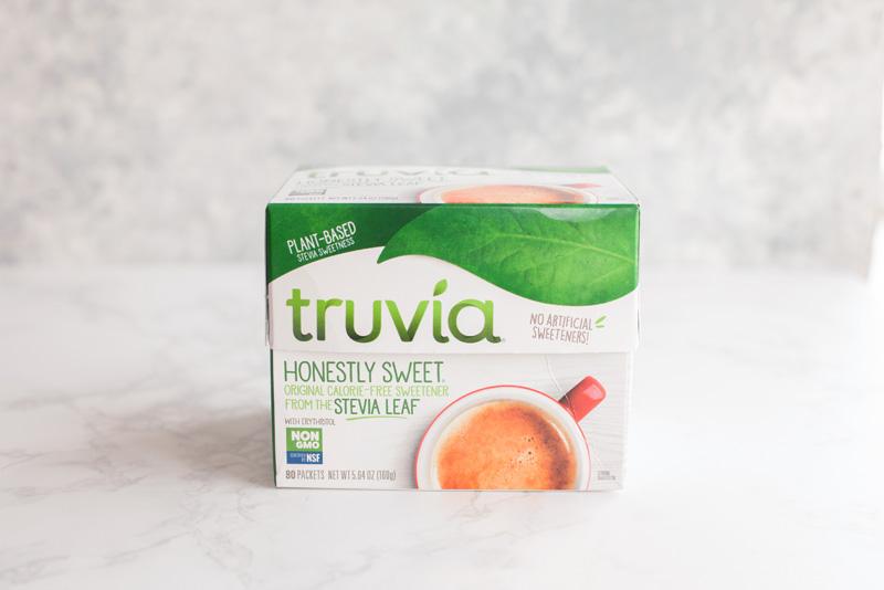 Truvia sugar substitute used in sugar-free whipped cream.