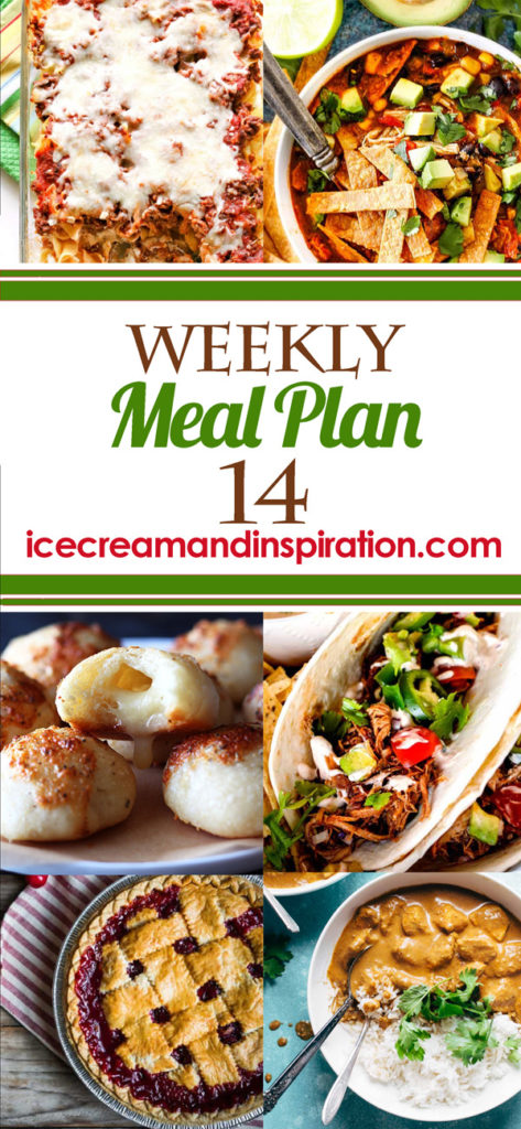 This week's meal plan has recipes for Chicken Tikka Masala, Faux Lasagna, Asian Spaghetti Salad, Slow Cooker Carnitas, and more! Plus, recipes for bread and dessert.