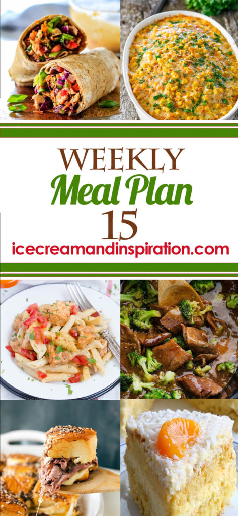 This week's meal plan has recipes for Chinese Chicken Salad Wraps, Creamy Cajun Chicken Pasta, Crock Pot Beef and Broccoli, Easy Chicken Cordon Bleu, and more! Plus, recipes for bread and dessert.