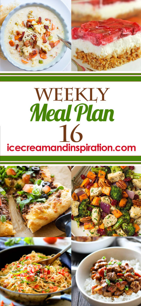 This week's meal plan has recipes for Roasted Cauliflower Soup, Taco Pizza, Caprese Chicken, Honey Garlic Salmon, and more! Plus, recipes for bread and dessert.