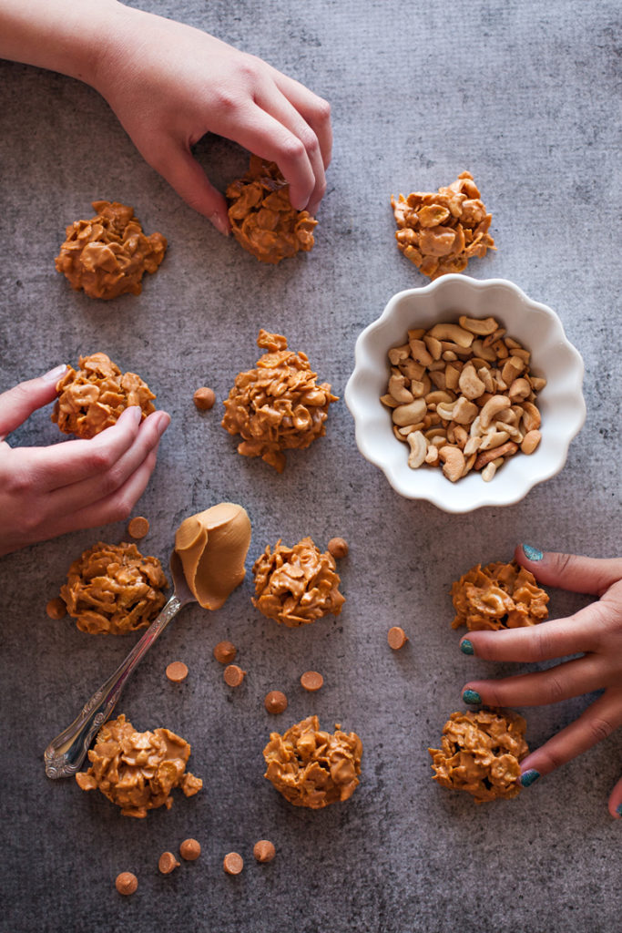Cashew Cornflake Clusters. The easiest no-bake cookies ever!