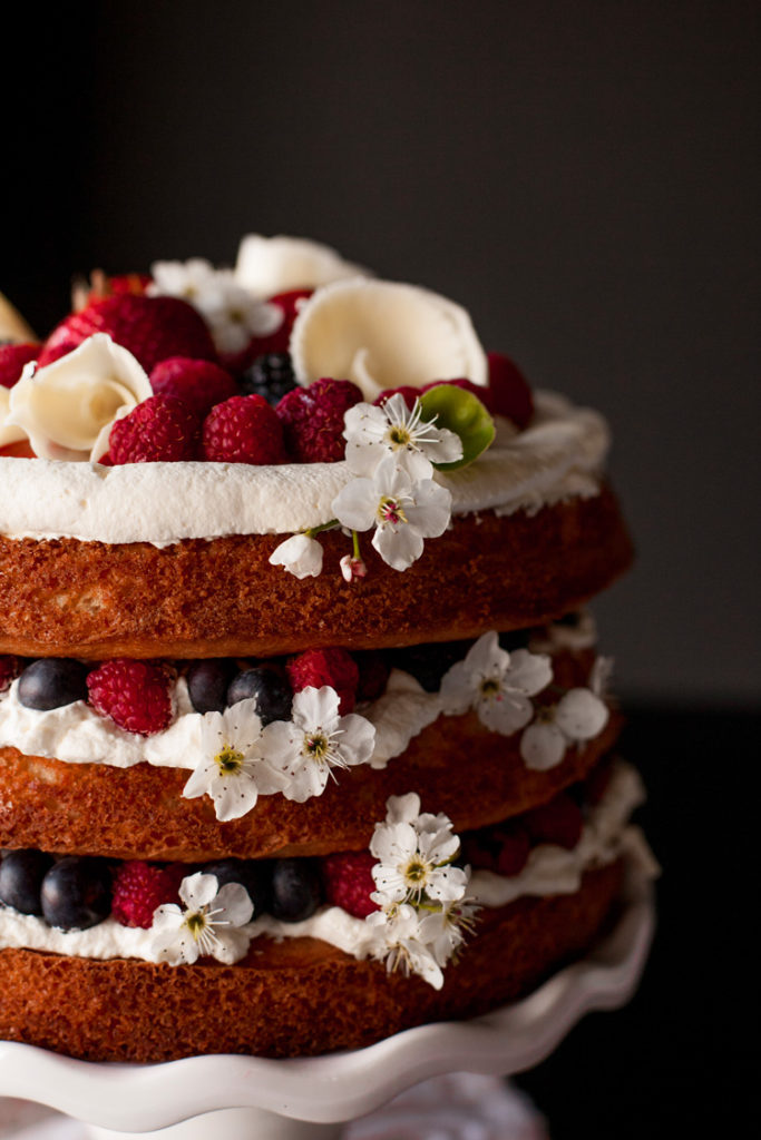 Vanilla Berries and Cream Cake, which looks super fancy, but is actually really easy to make.