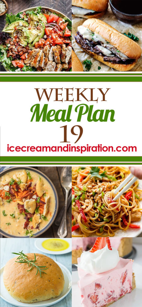 This week's meal plan has recipes for BLT Balsamic Chicken Avocado and Feta Salad, 30 Minute Peanut Sesame Noodles, Baked Chicken Fajita Burritos, Slow Cooker French Dip Sandwiches, and more! Plus, recipes for bread and dessert.