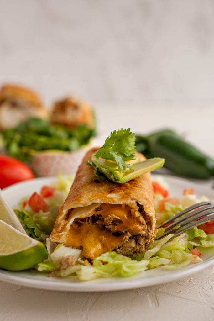 Golden and crispy, Chimichangas made with chicken, pork, or beef are the perfect way to use up leftover meat!