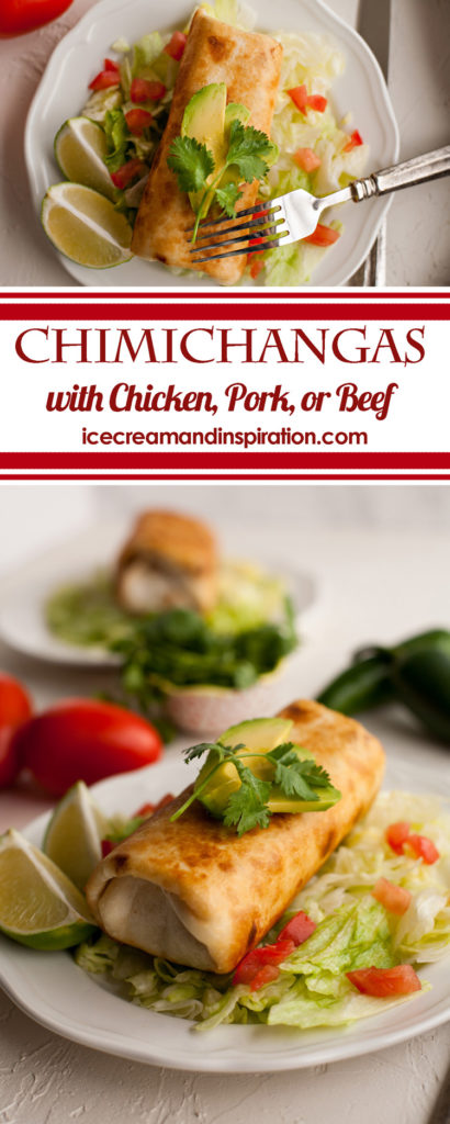 Golden and crispy, Chimichangas made with chicken, pork, or beef are the perfect way to use up leftover meat! Fried in oil, or baked in the oven, they are easy to make and bursting with flavor!