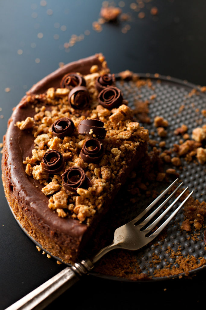 Easy Chocolate Cheesecake with graham cracker crust.