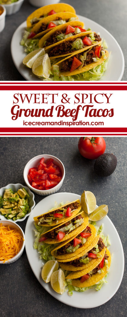Delicious Sweet and Spicy Ground Beef Tacos with just a touch of sweet and a touch of heat! The best taco recipe that will please even the pickiest of eaters!