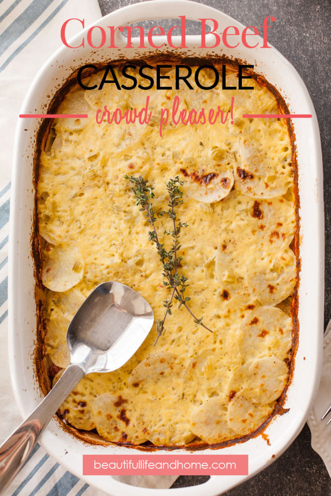 This Corned Beef Casserole is the perfect dish for Saint Patrick's Day! It contains the classic Irish ingredients of corned beef, cabbage, and potatoes, along with a creamy sauce.