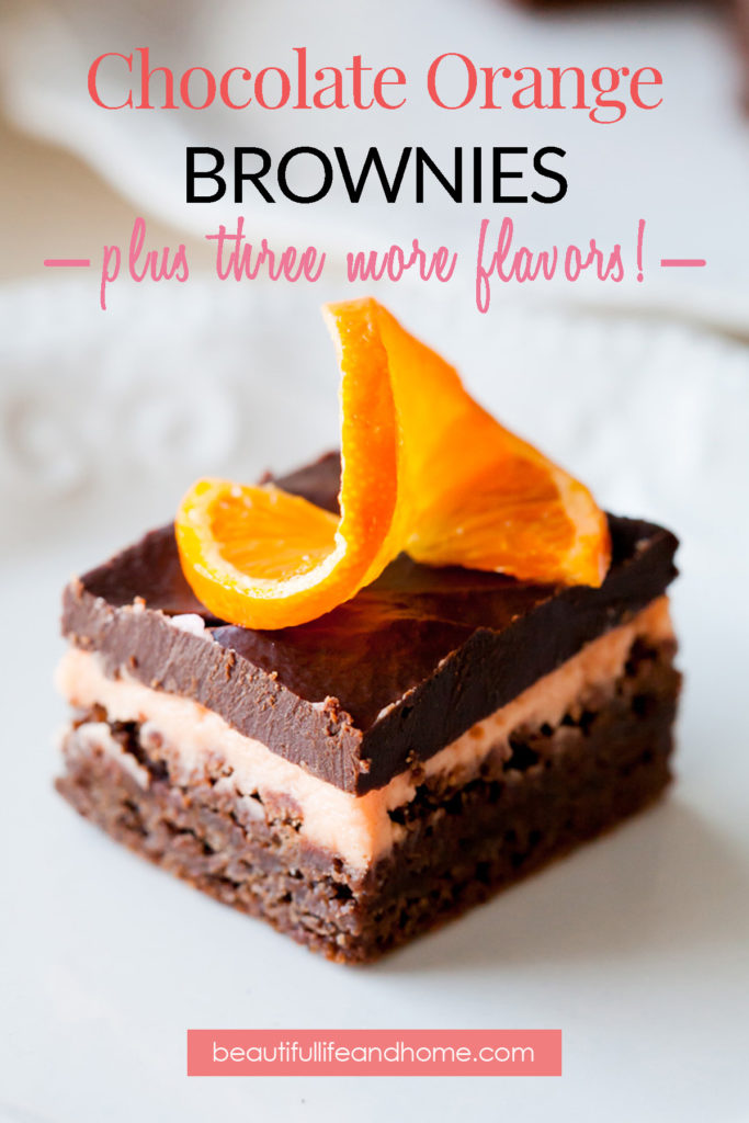 These amazing Chocolate Orange Brownies with ganache will become your favorite brownies for any time of the year! Easily make chocolate mint brownies, chocolate strawberry brownies, and chocolate lemon brownies with just a few simple tweaks! You can even do all four flavors in the same pan to make colorful Easter Brownies!