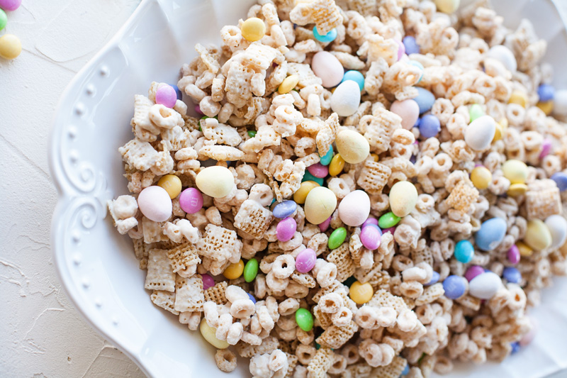 Easter Chex Mix with M&Ms and Cadbury Mini Eggs