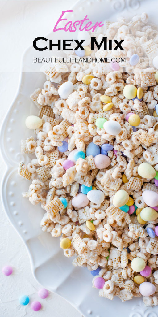This Easter Chex Mix is made with my favorite Easter candy! M&Ms and Cadbury Mini Eggs! It's no-bake, too! So fast and easy!