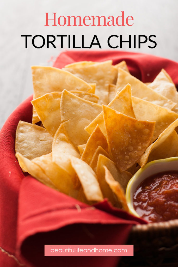 Easily make homemade fried tortilla chips, or baked tortilla chips! Your choice! Only three ingredients to make the best tortilla chips you've ever had!