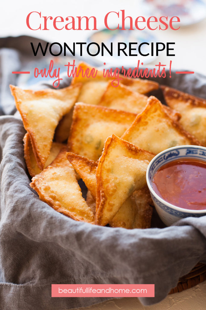 If you're looking for an easy, homemade cream cheese wonton recipe, you've just found it! With only three ingredients, these tasty Chinese restaurant classics are super simple to make yourself!
