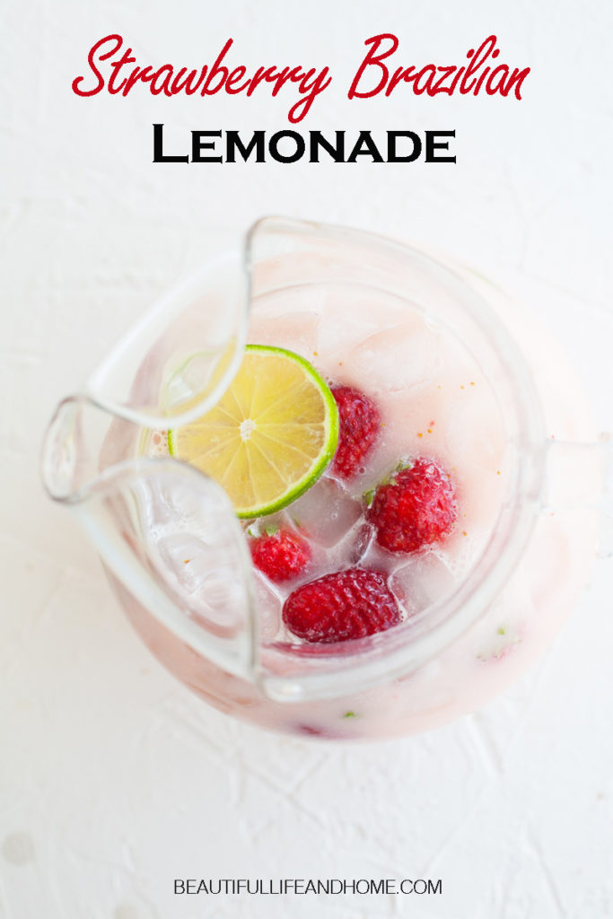 Make classic Brazilian Lemonade with a twist! Add fresh strawberries to create a unique flavor and gorgeous pink punch that will be a hit at any party!