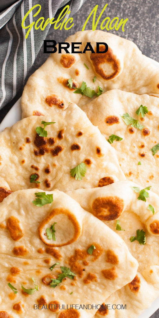 Make this traditional homemade Indian Garlic Naan Bread to go with all of your flavorful Indian dishes! Also great to use as Greek wraps, to dip in hummus, or as a base for personal pizzas!