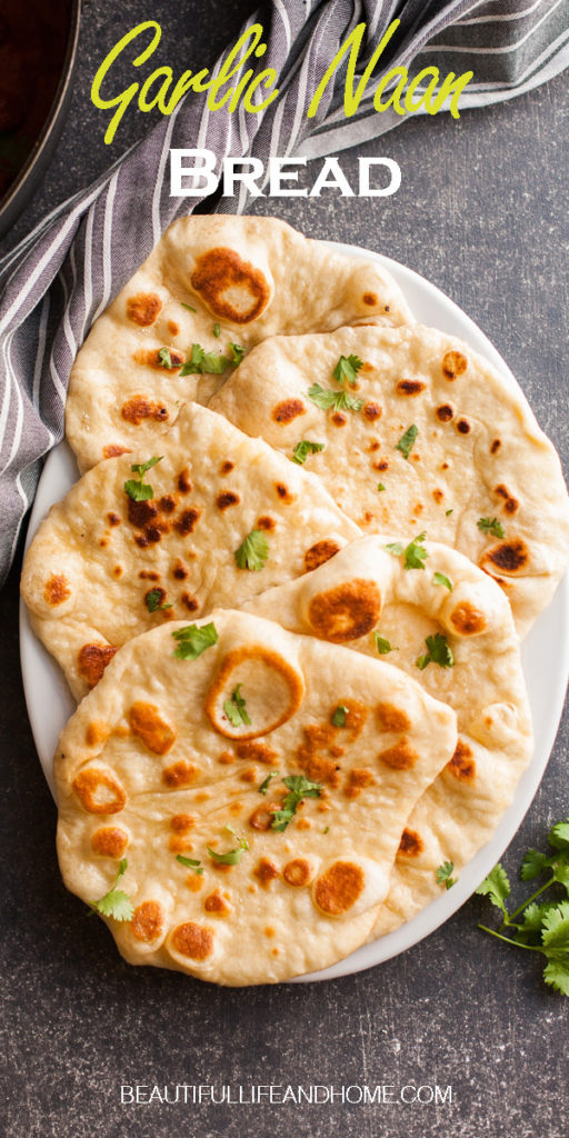 Make this traditional homemade Indian Garlic Naan Bread to go with all of your flavorful Indian dishes!