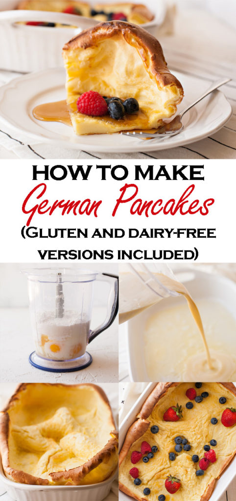 Get this classic recipe for German Pancakes! Made in the oven with just a few simple ingredients, your family will love this fun breakfast! Dairy-free, gluten-free, and sugar-free recipe for German Pancakes included!