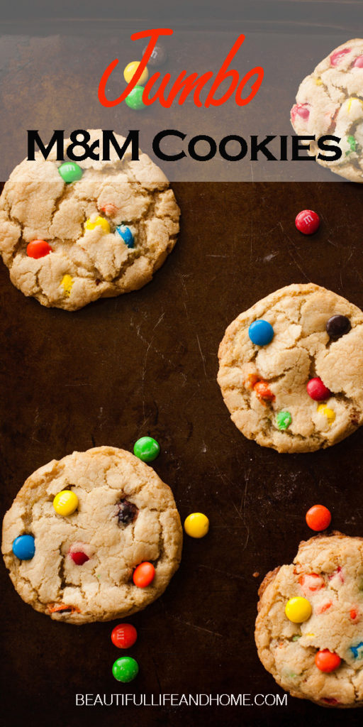 Make these Jumbo M&M Cookies today! As big as the palm of your hand!