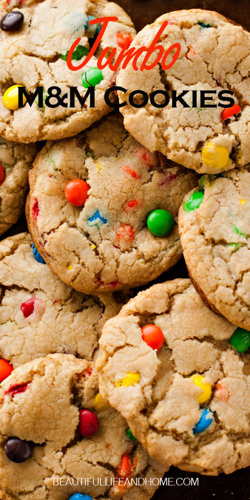 Cozy up with these giant M&M cookies! Big enough to fill the palm of your hand, and filled with M&M candies, they are every kid's delight!