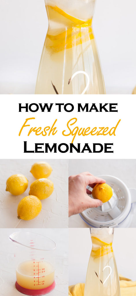 Learn how easy it is to make homemade fresh squeezed lemonade! Only three ingredients! Make just a cup or a whole gallon!