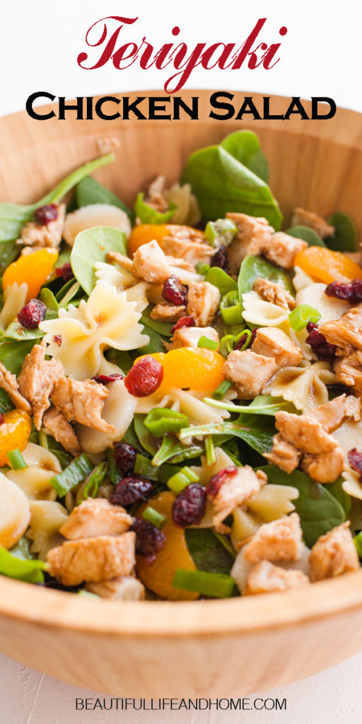 Teriyaki Chicken Salad. Fresh spinach, dried cranberries, and mandarin oranges are mixed with chicken, bow tie pasta, and a delicious teriyaki sauce.