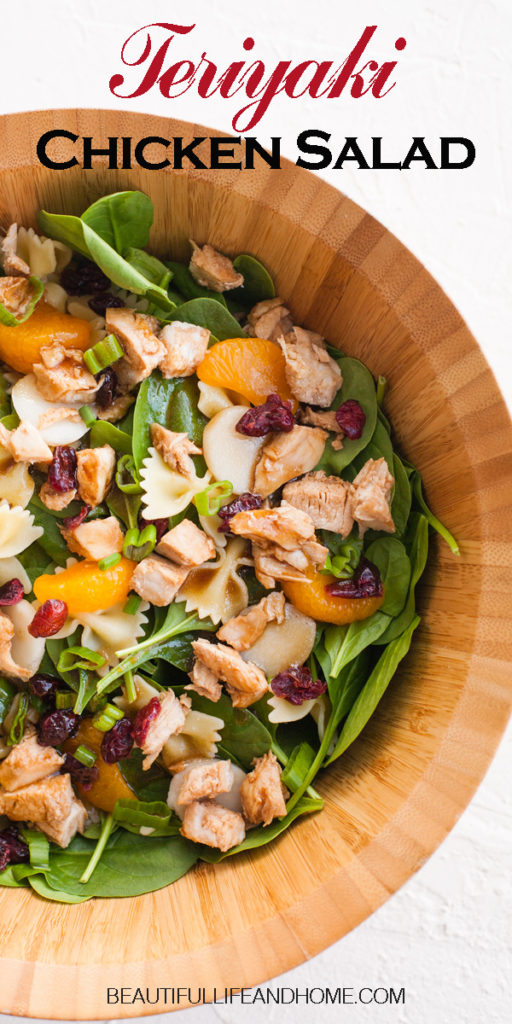 This vibrant, healthy Teriyaki Chicken Salad is a crowd pleaser! Perfect for summer picnics, barbecues, and reunions. Everyone will be begging for more! Fresh spinach, dried cranberries, and mandarin oranges are mixed with chicken, bow tie pasta, and a delicious teriyaki sauce.