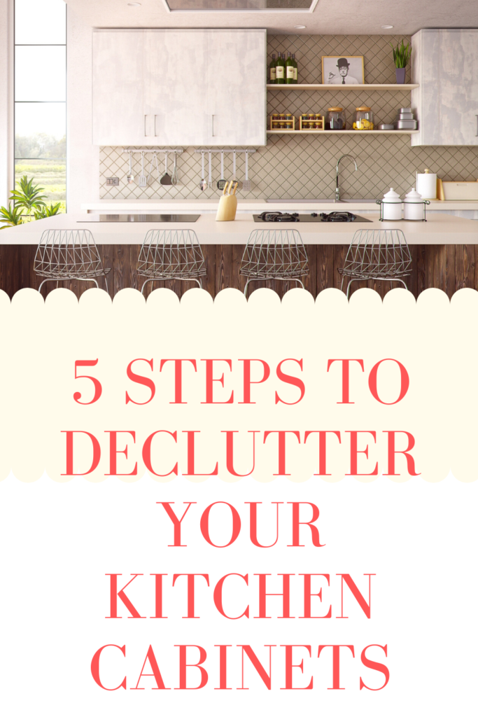 Home organizing tips --kitchen cabinets. Five steps to declutter your kitchen cabinets.