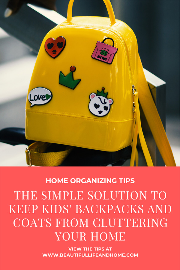 The simple solution to keep kid' backpacks and coats from cluttering your home.