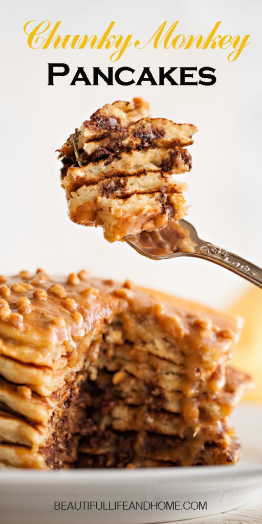 The most deMade with ripe bananas and studded with chocolate chips, then topped with an amazing peanut butter-maple sauce, you'll never go back to regular pancakes again!